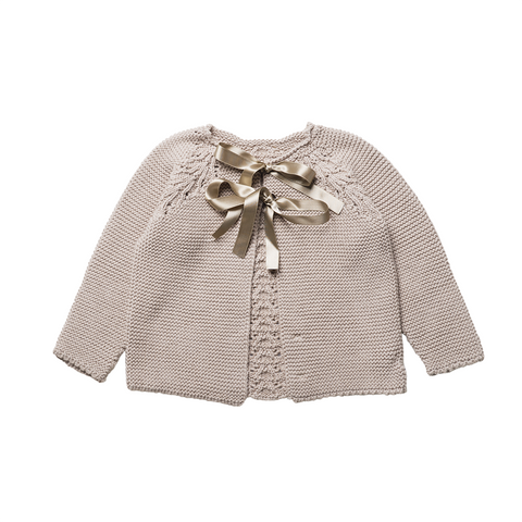 Girls Beige Reversible Jumper Bow | 米色雙面開叉背外套