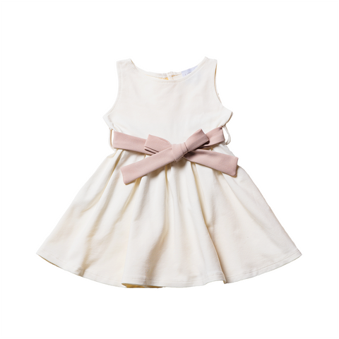 Girls White Dress with Bow  | 白色連身裙連腰帶