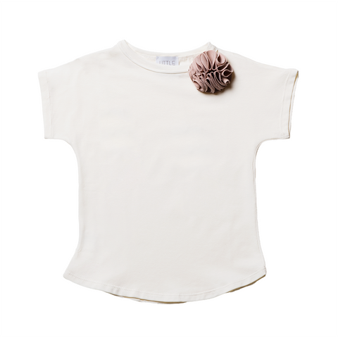 Girls White Short Sleeves T-shirt with Brooch  | 白色短袖T-shirt連胸針