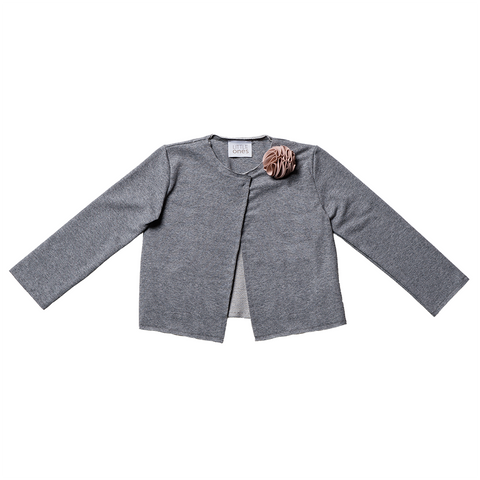 Girls Grey Cardigan with Brooch  | 灰色外套連胸針