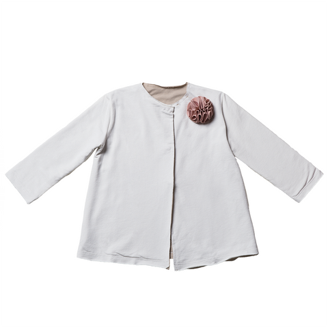 Girls White Cardigan with Brooch  | 白色外套連胸針