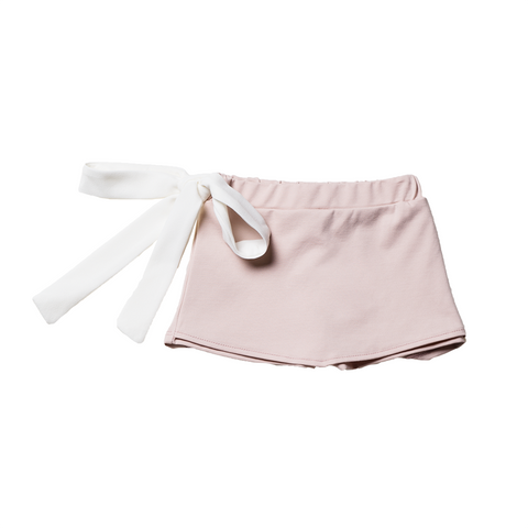 Girls Pink Pants Skirt with Bow  | 粉紅色短裙褲連腰帶