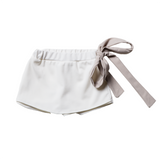 Girls White Pants Skirt with Bow  | 白色短裙褲連腰帶