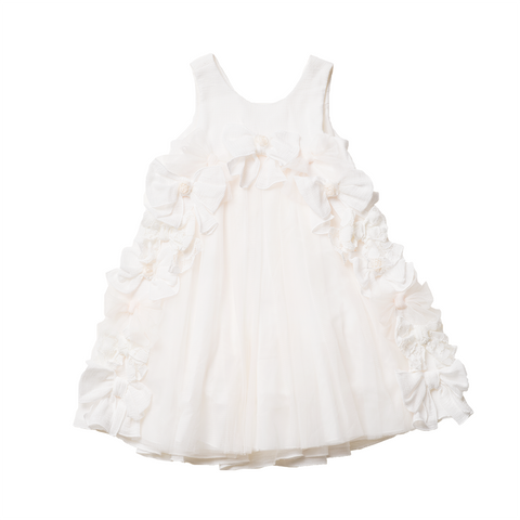 Girls Off-White Tulle Dress | 米白色薄紗花女裙