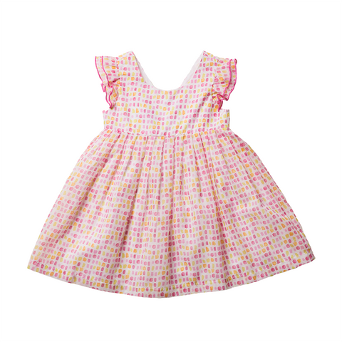 Girls Peachy Pink Spotty Dress | 粉紅色點狀連身裙