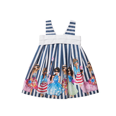 Girls Blue Striped Cotton Dress | 藍白條紋綿質連身裙