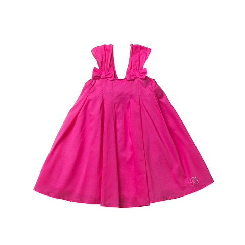 Girls Fuchsia Cotton Dress | 紫紅色綿質連身裙
