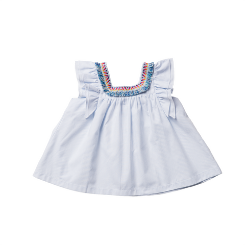 Girls Blue Striped Cotton Top | 藍色條紋上衣