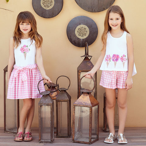 Girls Pink & White 2 Piece Shorts Set | 粉紅色短褲套裝