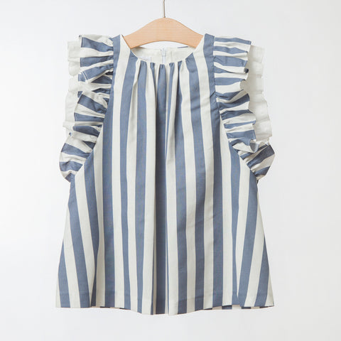 Girls Blue Striped Dress | 藍白條紋連身裙