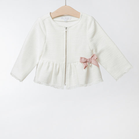 Girls White Cotton Jacket | 白色棉質外套