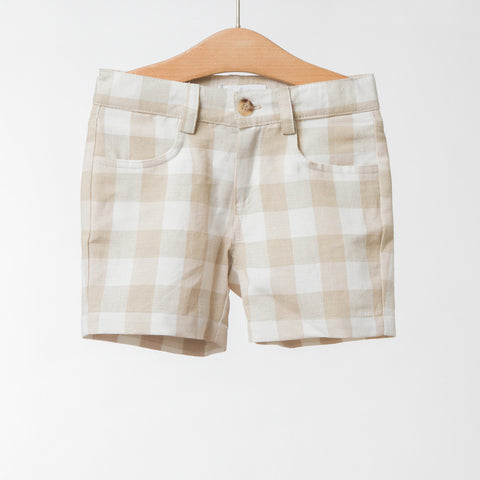 Boys Beige Check Shorts | 米色格仔短褲