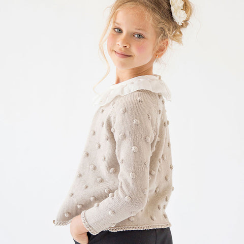 Girls Beige Knitted Cardigan | 米色針織外套