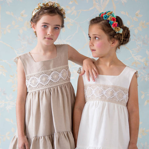 Girls Beige Margarita Dress | 米色復古連身裙
