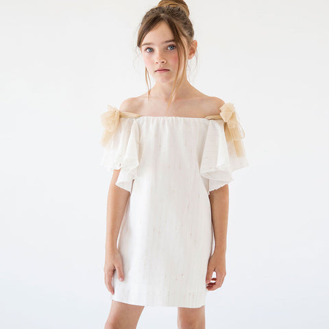 Girls Gold Off Shoulder Dress | 金色露肩式連身裙
