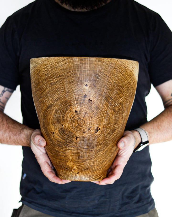 Large unique warped oak vase #2