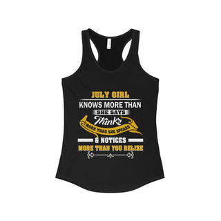 TeeFavory July Girl knows more than she says shirt - Xmas  tank top for Woman