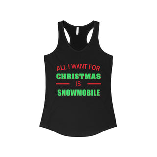 Teefavory Women's All i want for christmas is Snowmobile shirt - Xmas tank top