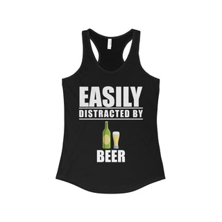 Teefavory Easily distracted by beer shirt - Tank top for woman