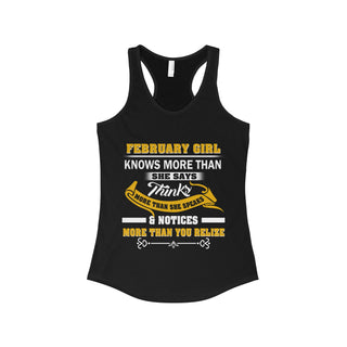 TeeFavory February Girl knows more than she says shirt - Xmas  tank top for Woman