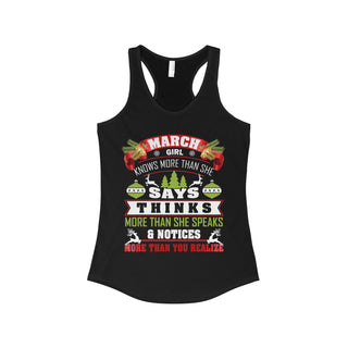 TeeFavory March girl knows more than she says shirt - Xmas  tank top for Woman