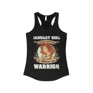 Teefavory January Girl Perfect Mixture Of Princess And Warrior Shirt - Tank top for woman