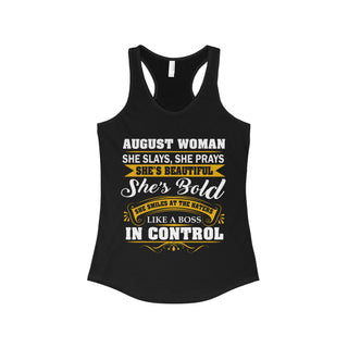 Teefavory Women's August Woman She Slays She Prays She's Beautiful She's Bold Shirt - August Tank top for woman