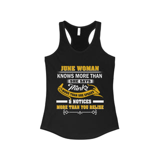 TeeFavory June woman knows more than she says shirt - Xmas  tank top for Woman