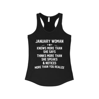 TeeFavory January woman knows more than she says shirt - Xmas  tank top for Woman