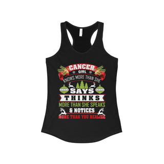TeeFavory Cancer girl knows more than she says shirt - Xmas  tank top for Woman