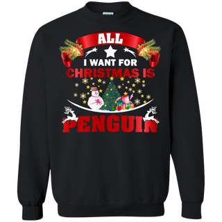 Teefavory All i want for christmas is Penguin shirt - Xmas  Sweatshirt - Xmas  Sweatshirt