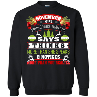 TeeFavory November girl knows more than she says shirt - Xmas sweatshirt for woman