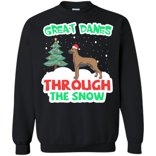 Teefavory Christmas Great Danes Through The Snow shirt - Xmas  Sweatshirt - Xmas  Sweatshirt