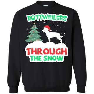 Teefavory Christmas Rottweilers Through The Snow shirt - Xmas  Sweatshirt - Xmas  Sweatshirt