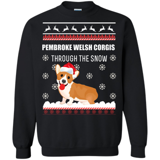 Teefavory Teefavory Pembroke Welsh Corgis Through The Snow Funny Ugly Christmas Sweater Shirt -   Xmas Sweatshirt -   Xmas Sweatshirt