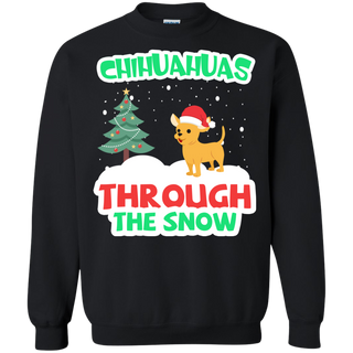 Teefavory Christmas Chihuahuas Through The Snow shirt - Xmas  Sweatshirt - Xmas  Sweatshirt