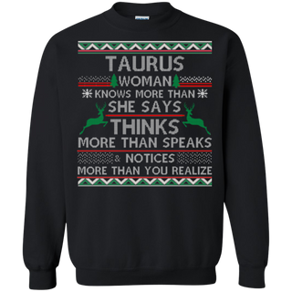 TeeFavory Taurus woman knows more than she says shirt - Xmas sweatshirt for woman