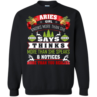 TeeFavory Aries girl knows more than she says shirt - Xmas sweatshirt for woman