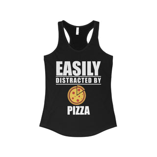 Teefavory Easily distracted by pizza shirt - Tank top for woman
