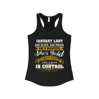 Teefavory January lady She Slays She Prays She's Beautiful She's Bold Shirt - Tank top for woman