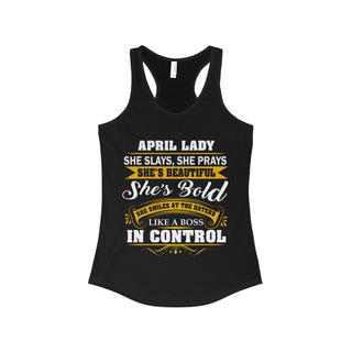Teefavory Women's April lady She Slays She Prays She's Beautiful She's Bold Shirt - April Tank top for woman