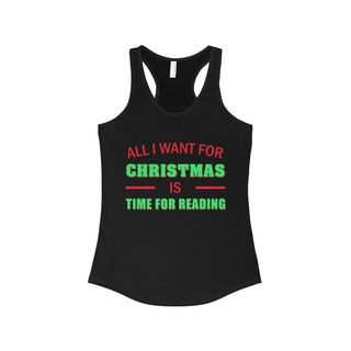 Teefavory Women's All i want for christmas is Time for Reading shirt - Xmas tank top