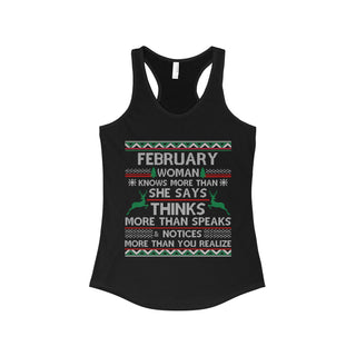 TeeFavory February woman knows more than she says shirt - Xmas  tank top for Woman