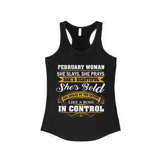 Teefavory February Woman She Slays She Prays She's Beautiful She's Bold Shirt - Tank top for woman