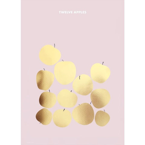 Twelve apples goud poster van Friday & Today