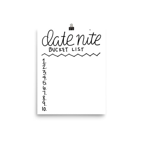 """Date Night Bucket List"" Print"