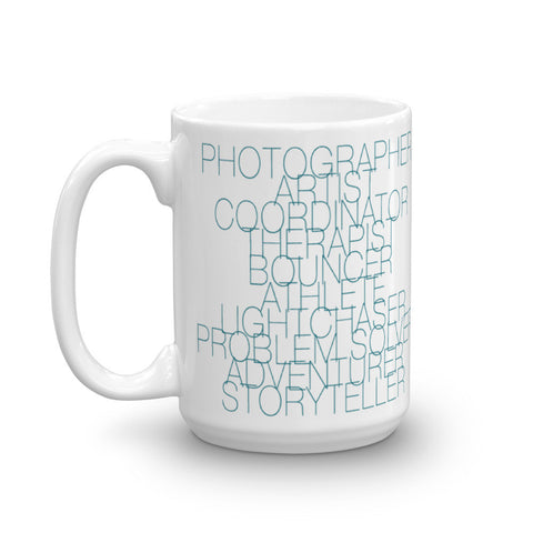 The Wedding Photographer Job Description Mug in Teal Abbey Grim – Photographer Job Description
