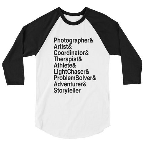 Wedding Photographer Roll-Call Baseball Tee (3 Colors Available