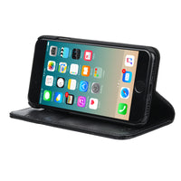 IPHONE 7 CAPRI BLACK ITALIAN LEATHER CASE, WITH STAND FUNCTION
