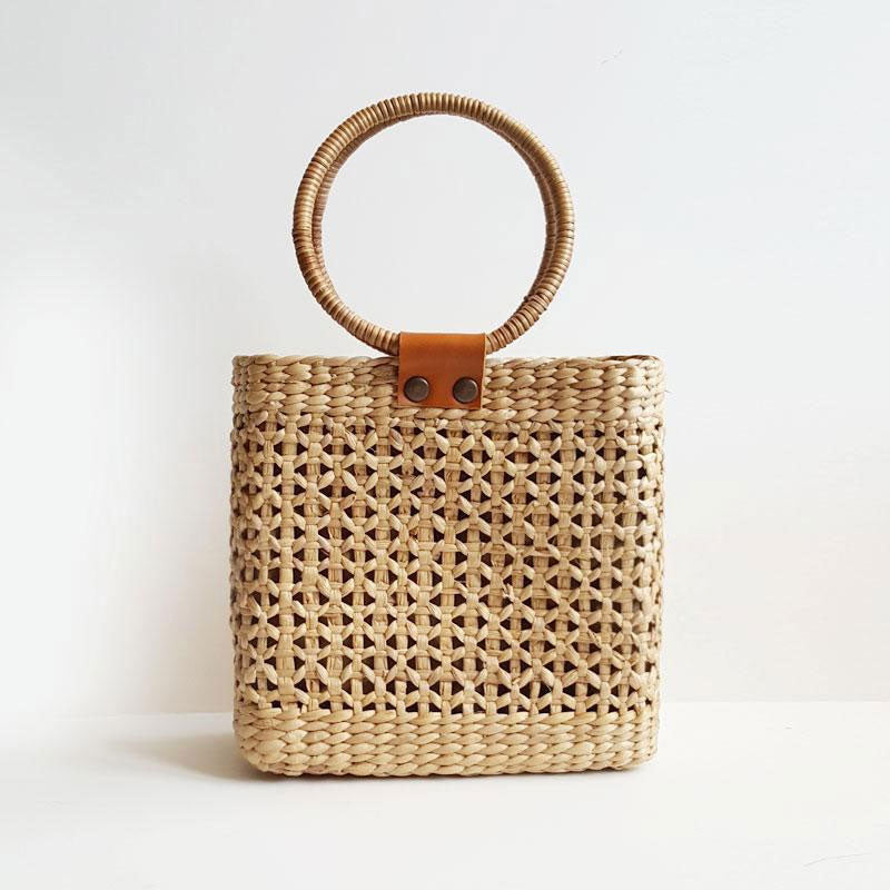 Jenny Handmade Straw Ring Handle Bag - MINDFUL ZEBRA